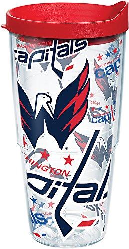 Tervis Copo NHL Washington Capitals All Over com envoltório e tampa vermelha, 680 g, transparente