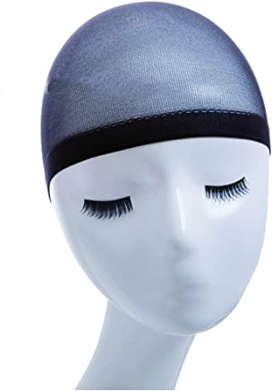 YEMOCILE 2 Pack Beige Stocking Wig Caps Flesh Color Stretchy Nylon Close End Wig Caps (Color : Black)