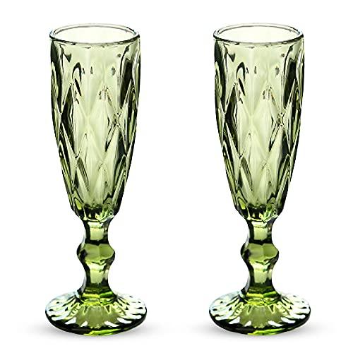 HPDEAR Vintage Champagne Flutes 5 oz Crystal Goblet Wine Glasses Colors, Set of 2 /Set of 4, Creative Vintage Color, Empaistic Glasses (Green-1,Set of 2)