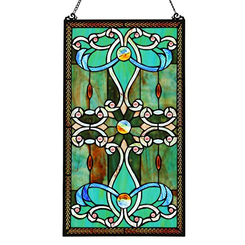 River of Goods Baroque Style 26 Inch High Stained Glass Window Panel, Blue, Teal, Pink