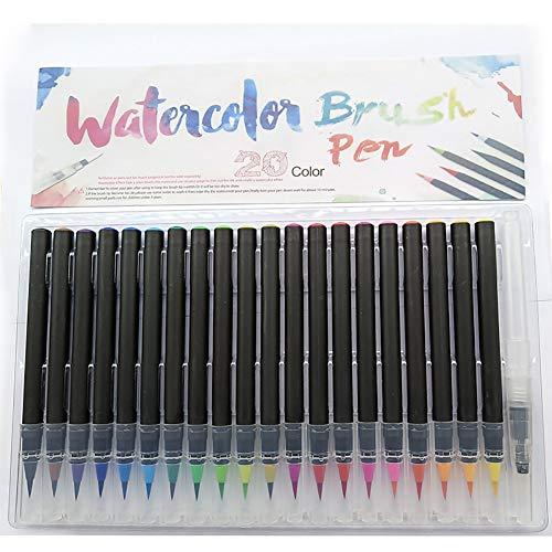 Auplew Plumas de Pincel, Rotuladores de Acuarela 20 Colores Caligrafía Rotuladores no tóxicos inodoros para Scrapbooking Dibujo