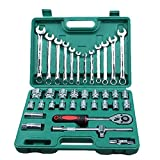 LQUIDE Hand Tools 37pcs Car Repair Torque Wrench Tool Combination Tool Set Mechanics Hand Tool Kits Ratchet Socket Spanner