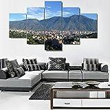 HGFDS Cuadros Modernos Impresión de Imagen Artística Digitalizada Montaña Avila Caracas Lienzo Decorativo para Salón o Dormitorio | 5 Piezas 150x80cm XXL (Enmarcado)