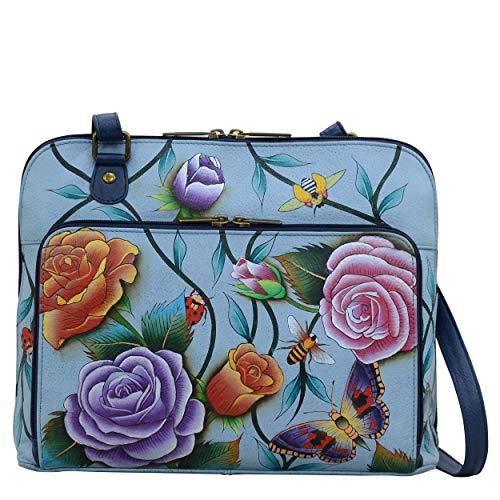 Anuschka Roses D'Amour Damen-Organizer, handbemaltes Leder, mit Reißverschluss, groß, Mehrfarbig - Rosen D'Amour - Größe: Large