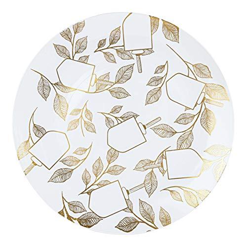 [10'' Plates 10 Count] White Plastic Floral & dreidel Design Chanukah Party Dinner Plates With Gold Rim Premium heavyweight Elegant Disposable Tableware Dishes