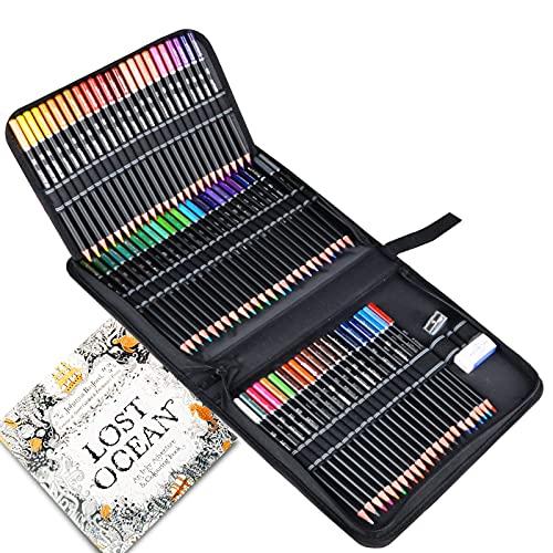 Set di 72 Matite Colorate Professionali con Astuccio per Sistemare, TOYESS Kit da Disegno Colori con Libro da Colorare, Gomma e Temperamatite per Adulti, Principianti e Bambini