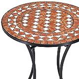 Deuba Bistrotisch Gernika Mosaik Tisch Ø 60 cm Höhe 70 cm pulverbeschichtetes Metall Terrassentisch Garten Tisch