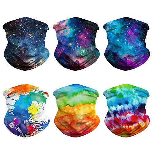 6pcs Unisex Seamless Rave Bandanas Summer Neck Gaiter Cover Sun UV Protection Galaxy Sport Headwear Motorcycle Dust Wind Balaclava Tube Headwrap Women Men Magic Face Scarf for Cycling, Hiking, Fishing