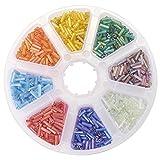 Pandahall£¬Canutillos transparentes de cristal de colores arco iris , ab colores, color mezclado,6x1.8 mm, agujero: 0.6 mm; sobre 103 g / caja
