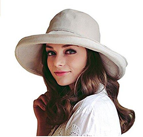 YJZQ Damen Sommer Strand Hut Sonnenhut Roll up Schlapphut Bucket Hat Faltbarer Eimer Hut großer Rand Anti-UV Fischerhut
