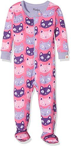 Hatley Hatley Baby-Mädchen 100% Organic Cotton Footed Sleepsuits Schlafstrampler, Pink (Silly Kitties), 6-9 Monate
