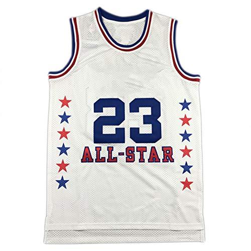 # 23 Camiseta de Baloncesto Bordada Michael Jordan Chicago Bulls All-Star Edition, Malla y Camiseta sin Mangas Deportiva Unisex Transpirable de Secado rápido. White-XL