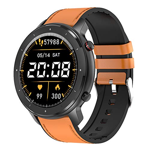 smartwatch sportivo, tracker fitness Bluetooth impermeabile con monitor del sonno della frequenza cardiaca contapassi orologio lettore musicale per IOS Android (Brown)