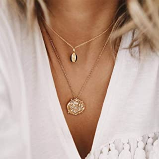 YERTTER Women Gold Simple Layered Vintage Double Layer Choker Necklace Coin Pendant Statement Necklaces for Women and Girls
