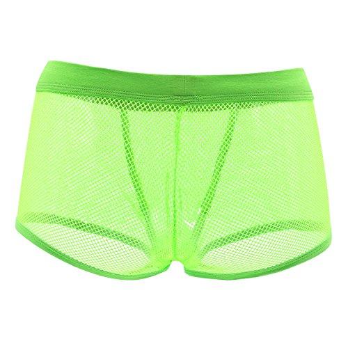 Herren BoxershortsTransprent Modal Männer Unterhosen Unterwäsche Sexy Lingeries Boxer Shorts Trunk-[Grün -Large]