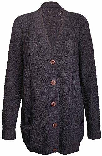 Womens nieuwe lange mouwen dames dikke Aran knop bevestiging kabel gebreide trui Grandad vest Top Plus grootte houtskool maat 24-26