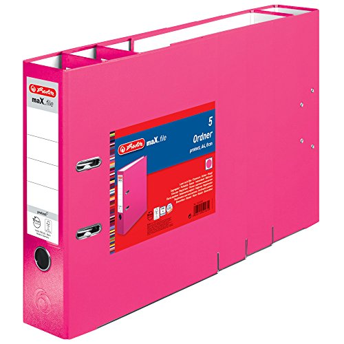 Herlitz 11416302 Ordner maX.file protect A4, 8 cm mit Einsteckrückenschild, 5er-Packung, FSC Mix, pink