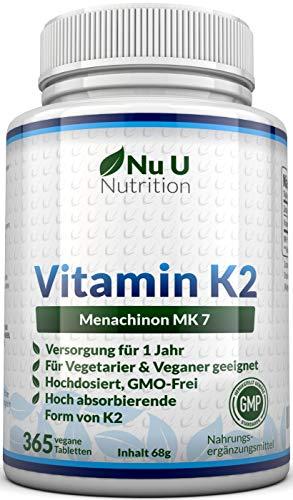 Nu U Nutrition | Vitamine K2 MK7 | 200 µg | 365 vegetarische en veganistische tabletten | Jaarlijkse voorraad