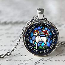 Lamb of God Stained Glass Image Pendant - Beautiful Easter Gift