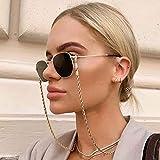 Bohend Moda Cadena de gafas Oro Giro Cadena de máscara facial Mujeres Cadena de gafas de sol Accesorios Para vidrio y mascarillas faciales (2 piezas)