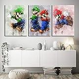 dayanzai 3 Pieces Super Bros Cartoon Pictures Super Mario Bros Video Game Poster HD Wall Pictures Canvas Art for Home Decor Wall Art-40x60cmx3Pcs-No Frame