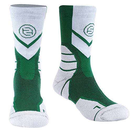 Boys& Girls Cycling Socks, Forcool Cushioned Novelty Crew Socks, Arch Support Cotton Indoor Sports Back to School Running Socks, 1 Pair Green/White X-Large