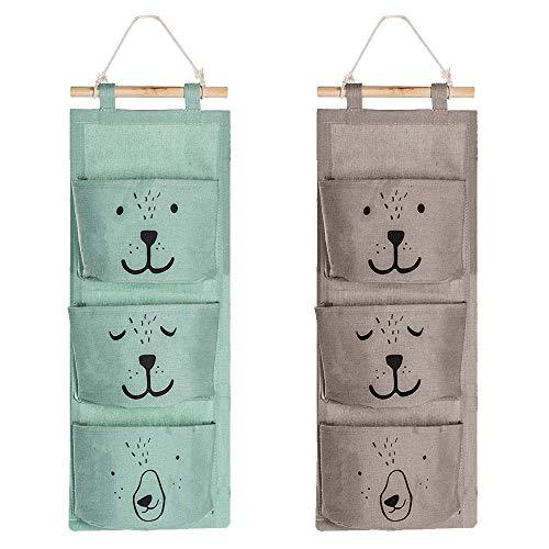 SNAGAROG 2 Stücke Wand Hängen Tasche Hängender Organizer Leinen tasche Wasserdichte aufbewahrungstasche für Kinderzimmer Badezimmer Schlafzimmer Büro (Grau, Grün)