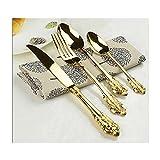 UKKO Cucchiaini Set di Stoviglie con Tappezzeria Placcata Oro 24 Pz Coltelli da Pranzo Forks Cucchiaini da tè Set di Stoviglie di Lusso Dorato Incisione