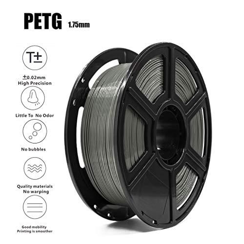 3D Printer PETG Filament Gray 1.75mm 1KG(2.2lb),Accuracy +/- 0.02 Mm,Non-Toxic Eco-Friendly Consumables for Most 3D Printer