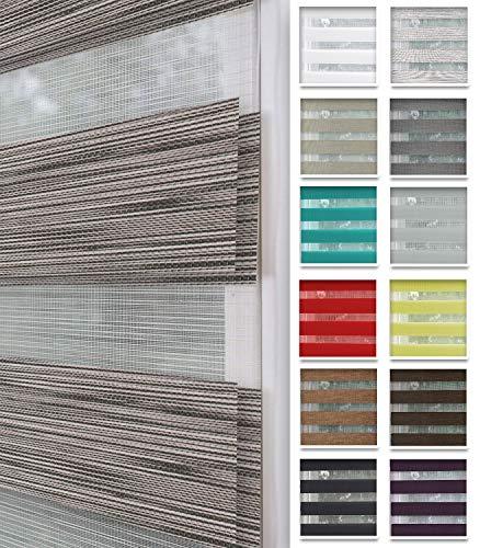 Home-Vision® Duo Rollo nach Maß, Doppelrollo ohne Bohren mit Klämmträgern, Rollos für Fenster und Türen (Holzlook Grau, B51-55cm x H150cm)
