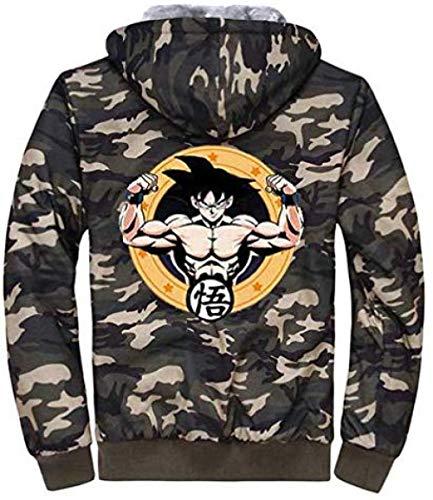 Bkckzzz Anime japonés Personalizado Edgy Art Dragon Ball Thicken Sudadera con Capucha Unisex Cosplay Camo Sportswear Cardigan Jacket @ M_30