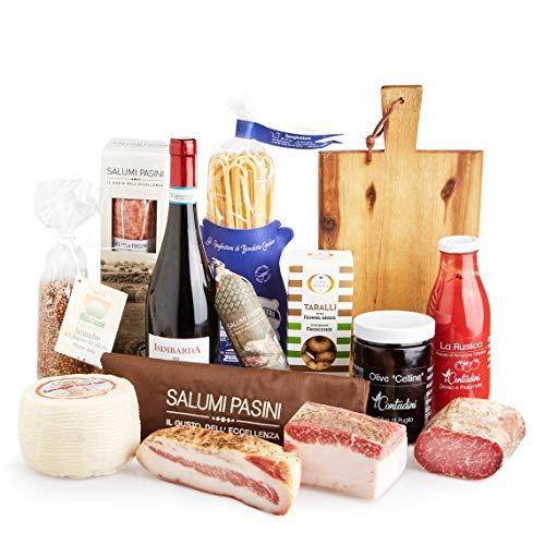 Cesto gastronomico 'ECCELLENZE ITALIANE', confezione regalo con prodotti tipici italiani, perfetto per Natale o qualsiasi altra occasione