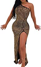 Women Sexy Sequin Mesh Dresses - Off Shoulder See Through Bodycon Dress Party Night Clubwear