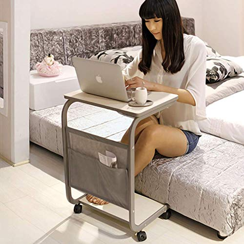 DFJU Lifting Laptop Computer Schreibtisch Beweglicher C-förmiger Overbed TV Tray Magazine Snack Tisch auf Rädern, Holz Desktop mit Metallrahmenfarbe