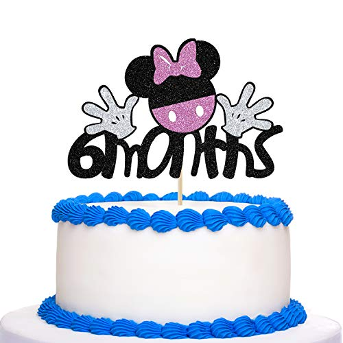 Glitter Minnie Mouse 6 Months Cake Topper - Minnie Happy 1/2 Birthday Half Year Old Cake Topper - Girls Baby Shower Party Decoration Supplies