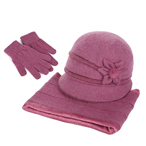 婦人帽 祖母おばあちゃんの帽子秋冬アウトドア高齢者厚く暖かい帽子3点セット母の日ギフト(帽子+スカーフ+手袋) (Color : #04)
