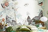 Yosot Papel Pintado Estilo De Japón Mural Mariposa Mural 3D Mural Fondos De Pantalla De Pared Para Ropa De Cama Sofá De Fondo 3D Mural De Pared-200Cmx140Cm