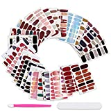 30 Sheets Random Style Nail Polish Strips & Toenail Strips Set Solid Color Gel Nail Stickers Self-Adhesive Fake Nails Art Decal Design Nail Wraps Manicure with Nail File Pusher for Women Girls