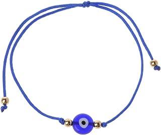 Happyyami Mauvais Oeil Collier Porte-Bonheur Oeil Bleu Cha/îne Collier R/églable Cha/îne Plaqu/é Or Choker Bijoux
