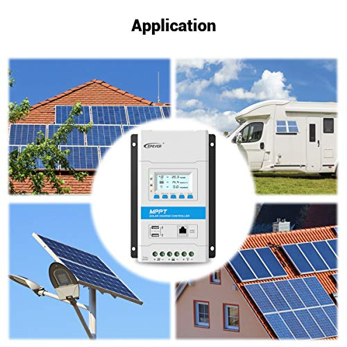 EPEVER 40A MPPT Solar Charge Controller 12V/24V Auto Solar Panel Charge Regulator with LED&LCD Display Double USB Port and MT50 Remote Meter Temperature Sensor RTS & PC Communication Cable RS485