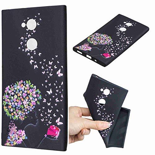 Huphant Kompatibel mit Sony Xperia XA2 Ultra Silikon Case Schwarz Cartoon Printed Stoßstange Ultradünn Case Silikon TPU Flexibel Handyhülle für Sony Xperia XA2 Ultra Cover Gemalt Muster -Mädchen
