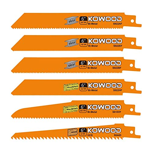 6-Inch Metal/Wood Saw Blades for Reciprocating/Sawzall Saws by KOWOOD for Dewalt,Bosch, Black & Decker, Makita, 6 PCS
