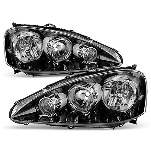 ACANII - For 2005-2006 Acura RSX Black Headlights Headlamps Head Lights Lamps Replacement Driver + Passenger Side