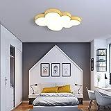 LITFAD Acrylic Cloud LED Flush Ceiling Light Nursing Room Cartoon Lovely Baby Room Lighting Fixture Modern LED Ceiling Lamp with White Lighting for Bedroom Kids Room Children Bedroom - Yellow, 18'