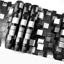 PUNGDUNK Bloque de Vinilo Piedra Ladrillo Papel Pintado Moderno Característica 3D Papel de Pared geométrico Blanco y Negro Sala de Estar Oficina