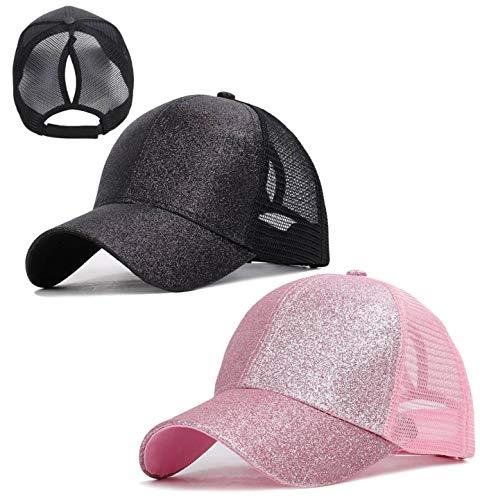 Gellwhu 2 Pack Kids Girls Glitter Ponytail Baseball Hat Messy Buns Ponycaps Visor Cap (Black & Pink, 3-8 Years)