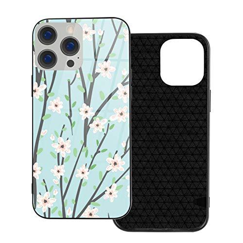 Compatible con iPhone 12 Pro Max, carcasa resistente de cuerpo completo, funda de vidrio TPU suave para iPhone 12 Pro Max 6.7 pulgadas, patrón floral con flores y ramas