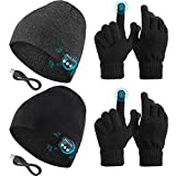 4 Pieces Bluetooth Beanie Music Hat Wireless with Gloves Techy Stuff Compatible with Bluetooth with Gloves for Men Women Unisex Outdoor Sports