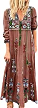 LILICHIC Bohemian Paisley Floral Print V-Neck Long Sleeve Maxi Dress, Fashion Casual Women Loose Sundress, Plus Size