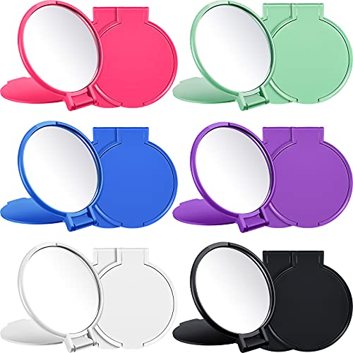 18 Pieces Round Compact Mirror Portable Pocket Mirror Makeup Small Mirror Vintage Mini Folding Mirror Portable Travel Makeup Mirror for Women Girls Travel Daily Use 2.44 x 2.75 inches,,6 Colors